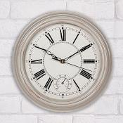 Cream Wall Clock With Thermometer