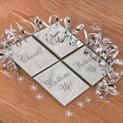 Set 4 Coasters with Glitter