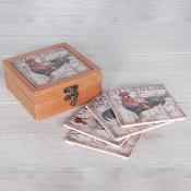 Cockerel Coasters set of 4
