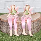 Pink Peony Fairies Sitting Set of Two