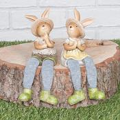 Summertime Bunnies Sitting Set of Two