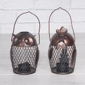Owl & Chicken Metal Tea Light Holder Set of Two