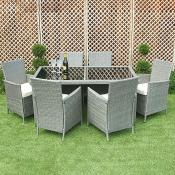 Grey Rattan Dining Set 6 Person