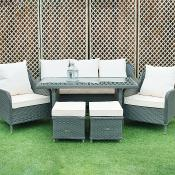 Rattan 3 Piece Suite and 2 Stools and Table Grey