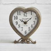 Gold Heart Clock on Stand
