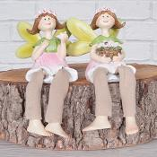 Floral Fairies Sitting Pink Set of Two
