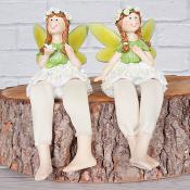 Floral Fairies Sitting Green Set of Two