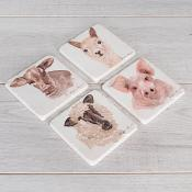 Farm Animal Coasters Set