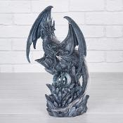 Black Dragon on Stone with Waterball