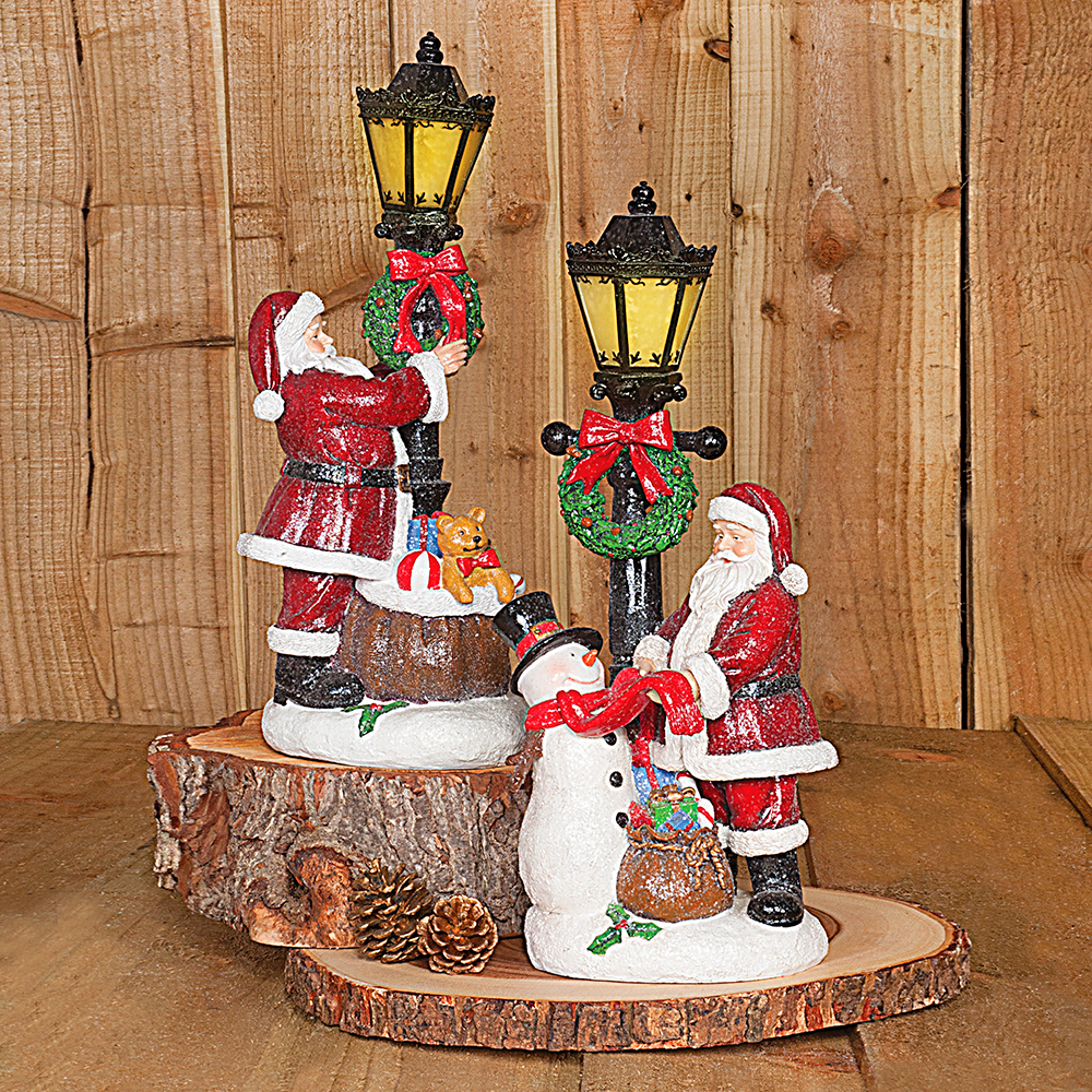 Santa and Friends by Lampost Set of Two