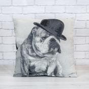 Bulldog Jacquard Cushion