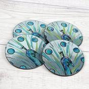 Blue Peacock Coasters Set of 4