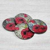 Pink Peony Coasters Set of 4