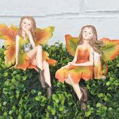 Hazel And Amber Autumn Faires on shelf Set of Two