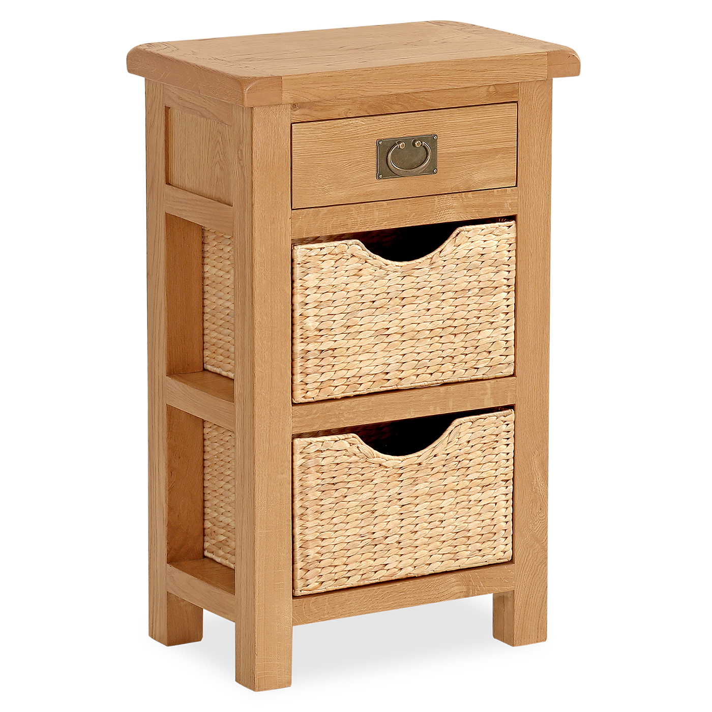 Salisbury Oak Furniture Telephone Table with Baskets